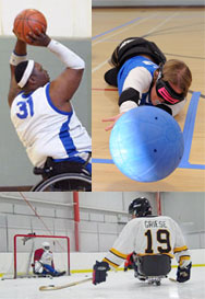 triptych of BORP Wheelchair basketball, Goalball, and Sled Hockey athletes